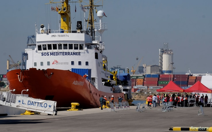 The Aquarius rescue ship arrives to port carrying hundreds of migrants, in Valencia, Spain, June 17, 2018.