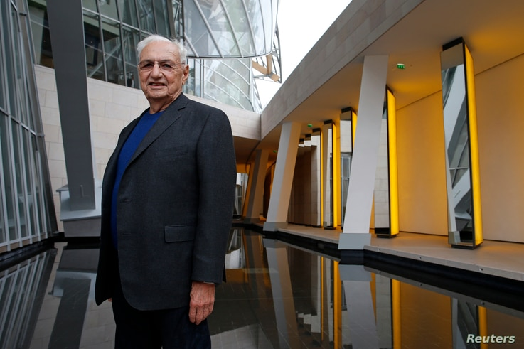 American architect Frank Gehry attends a press visit at the Foundation Louis Vuitton in the Bois de Boulogne, Paris, Oct. 17, 2014.