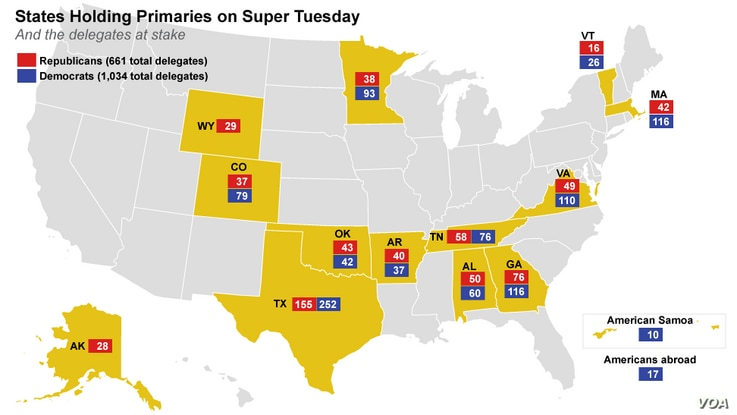 States/territories holding primaries or caucuses on Super Tuesday