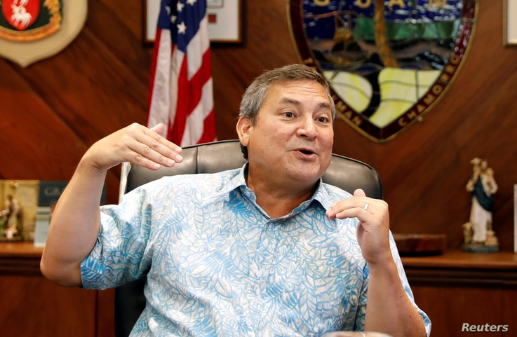 Guam Governor Eddie Calvo speaks during an interview at the government complex on the island of Guam, a U.S. Pacific Territory, Aug. 10, 2017.