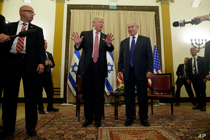 President Donald Trump talks to reporters before a meeting with Israeli Prime Minister Benjamin Netanyahu, May 22, 2017, in Jerusalem.