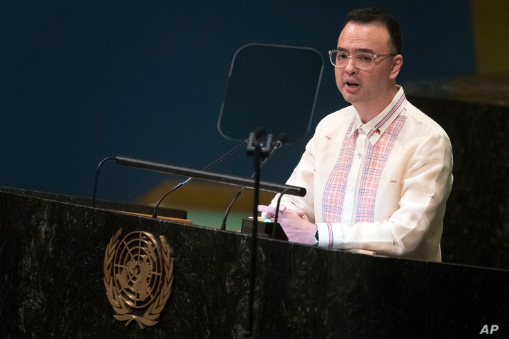 Philippine Foreign Affairs Secretary Alan Peter Cayetano addresses the 73rd session of the U.N. General Assembly, Sept. 29, 2018, at U.N. headquarters.
