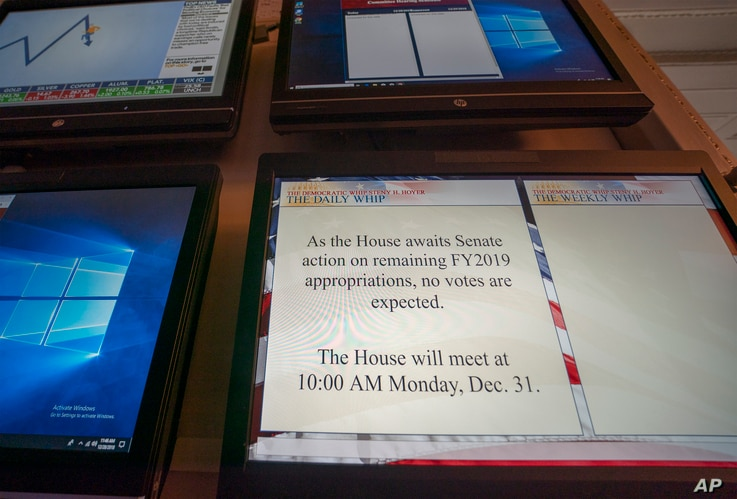 A monitor in the House of Representatives displays a schedule update on Capitol Hill in Washington, Dec. 28, 2018.