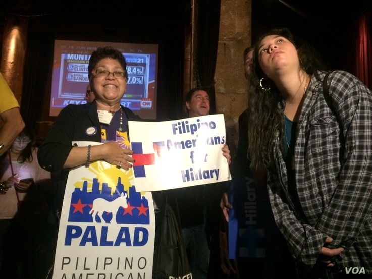 Grace Barrios and her daughter, taken at Clinton Watch Party, Los Angeles.
