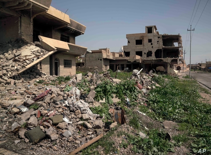 Houses in a residential street are reduced to rubble, on the edge of Hamdaniya, Iraq, March 29, 2017.