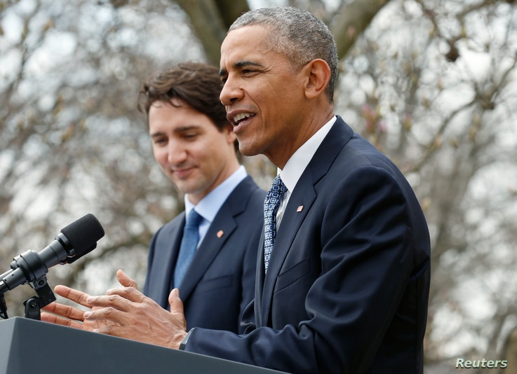 U.S. President Barack Obama (R) and Canadian Prime Minister Justin Trudeau hold a joint news conference in the White House Rose Garden in Washington, March 10, 2016.