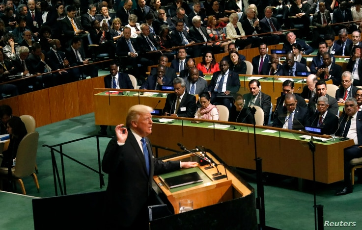U.S. President Donald Trump addresses the 72nd United Nations General Assembly at U.N. headquarters in New York, Sept. 19, 2017.