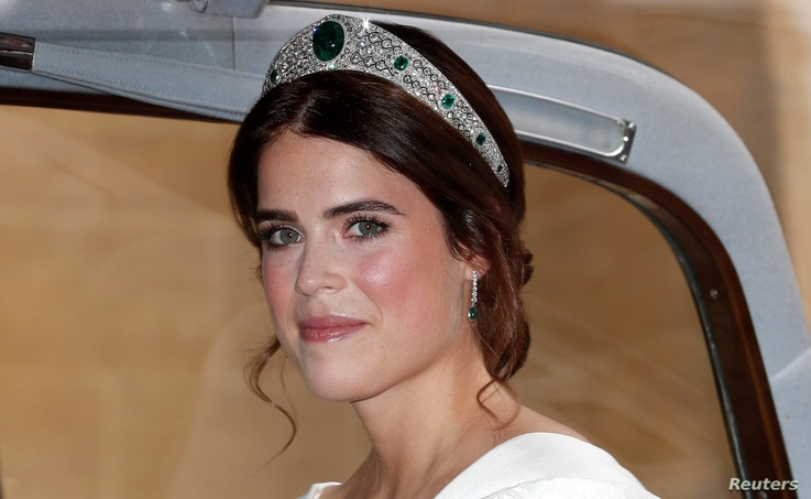 Princess Eugenie of York arrives for her marriage to Jack Brooksbank at St George's Chapel, Windsor Castle, near London, Britain, Oct. 12, 2018.