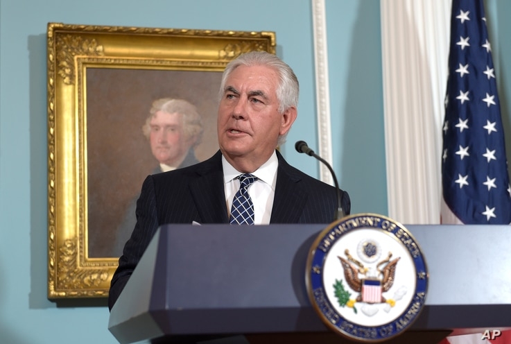 FILE - Secretary of State Rex Tillerson responds to a question about North Korea after speaking on the release of the 2016 annual report on International Religious Freedom.
