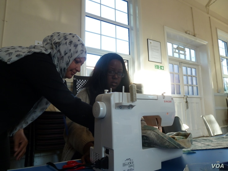 """Suhad el Marsomi, an Iraqi refugee, teaches sewing while she awaits a decision on her asylum application, October 12, 2016. """"Even if (it is for) free, it's not a problem for me,"""" she said. """"Just I want to feel I'm human. I'm still human. I'..."""