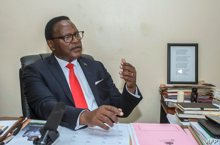 FILE - Lazarus Chakwera, leader of the Malawi Congress Party (MCP), the main Malawi opposition party, gives an interview to Agence France Presse (AFP) at his MCP headquarters in Lilongwe, Jan. 24, 2019.