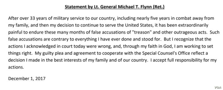Statement from Mike Flynn about his guilty plea, Dec. 1, 2017.