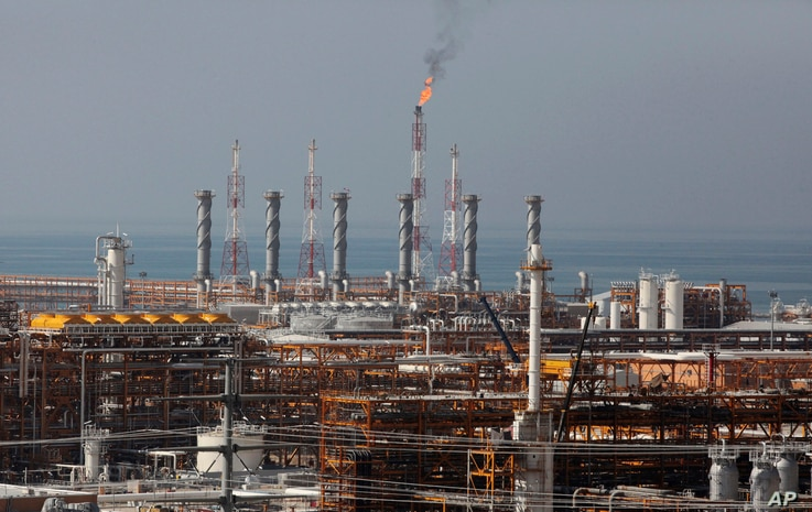 FILE - In this Jan. 22, 2014, a partially constructed gas refinery at the South Pars gas field is seen on the northern coast of Persian Gulf in Asalouyeh, Iran. I