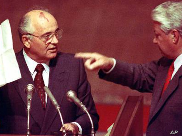 Mr. Gorbachev survives a coup organized by hard-line communists as an effort to save the Soviet Union.   (AP)