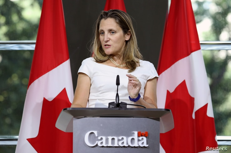 Canadian Foreign Minister Chrystia Freeland takes part in a news conference at the Embassy of Canada in Washington, Aug. 31, 2018.