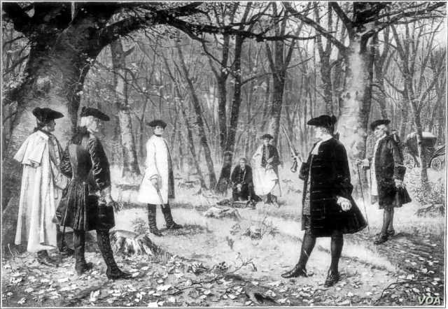 Aaron Burr and Alexander Hamilton face off in a duel of honor. By Illustrator not identified. From a painting by J. Mund. (Public domain)