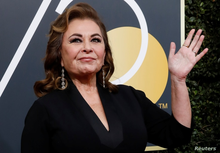 Actress Roseanne Barr waves on her arrival to the 75th Golden Globe Awards in Beverly Hills, California, Jan. 7, 2018.