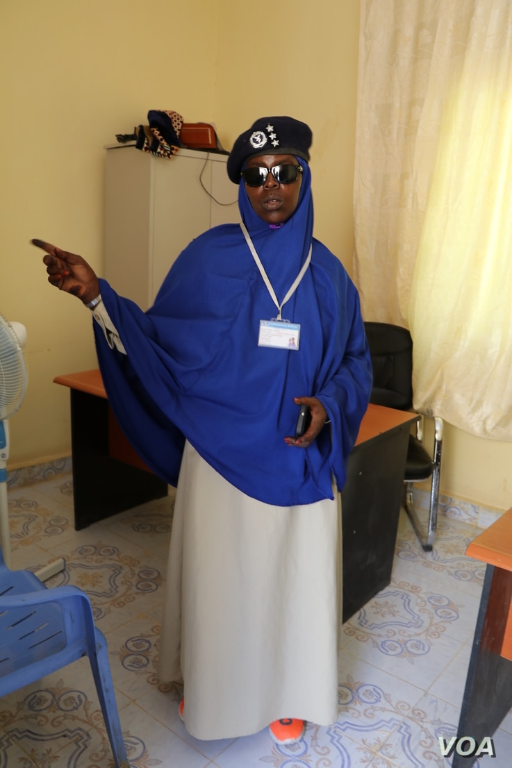 Officer Kis Shamis Kabdi Bile is the only woman in Garowe's Criminal Investigation Division in Somalia. She handles every case of rape and gender-based violence because, she says, most male officers don't even consider them to be crimes.