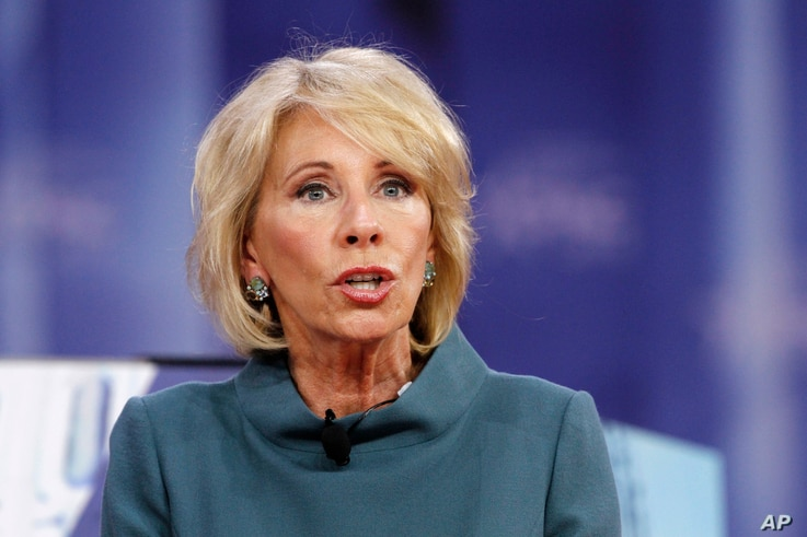 FILE - Education Secretary Betsy DeVos speaks during the Conservative Political Action Conference (CPAC), at National Harbor, Maryland, Feb. 22, 2018.
