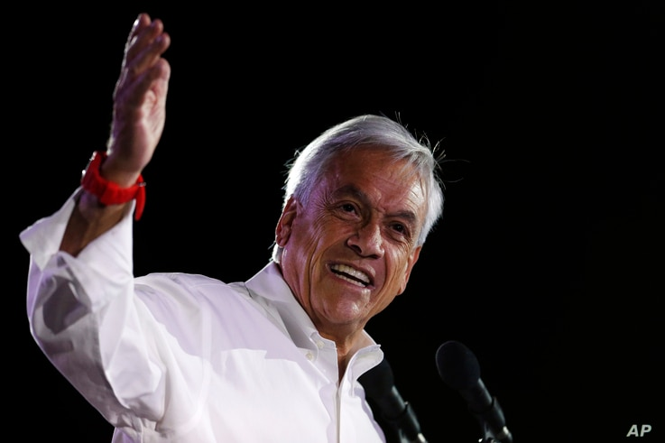 Sebastian Pinera, former Chilean president who is running again for office, addresses  supporters at his closing campaign rally in Santiago, Chile, Nov. 16, 2017. Chile will hold presidential and congressional elections Sunday.