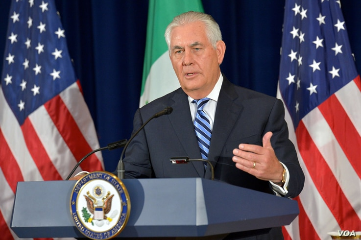 U.S. Secretary of State Rex Tillerson addresses reporters at a press conference at the U.S. Department of State in Washington, D.C., May 18, 2017.