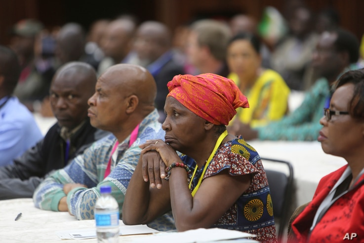 Members of the ZANU PF Central Committee attend a meeting at the party headquarters in Harare, Nov, 19, 2017.