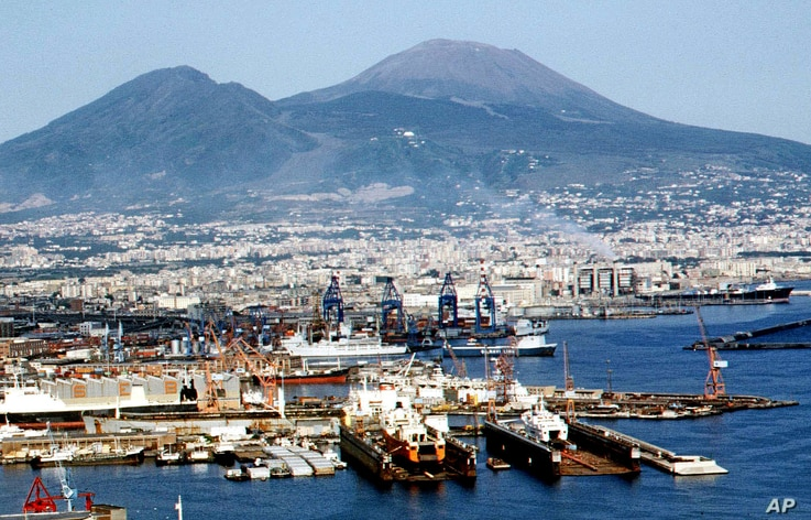 Mt. Vesuvius volcano is seen from the bay of Naples, southern Italy, in this undated file photo.