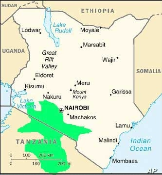 A map showing the Maasai group's traditional land in north