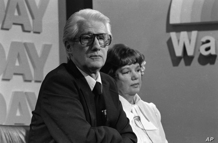 """Former Associate FBI Director W. Mark Felt, and his wife Audrey, appear on NBC's """"TODAY"""" television show in Washington, D.C. on April 11, 1978."""