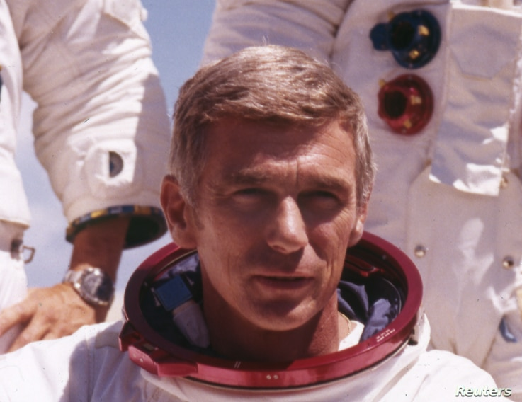 U.S. astronaut Gene Cernan is shown in his space suit before the Apollo 17 mission in 1972.