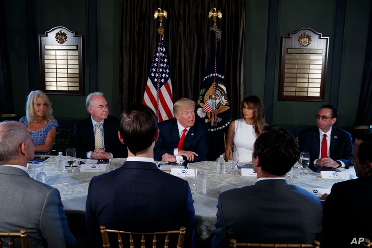 President Donald Trump speaks during a briefing with members of his administration, Aug. 8, 2017, at Trump National Golf Club in Bedminster, New Jersey.
