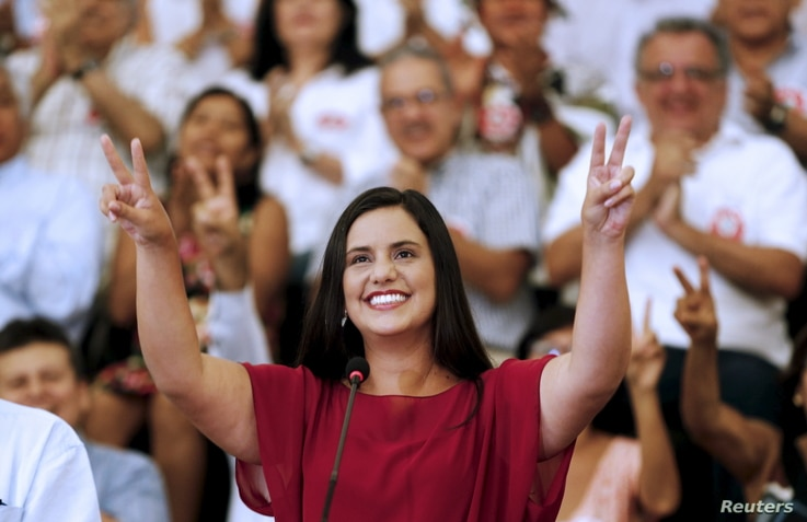Peru's presidential candidate Veronika Mendoza of 'Frente Amplio' party gestures during an event to introduce her team, in Lima, March 28, 2016.