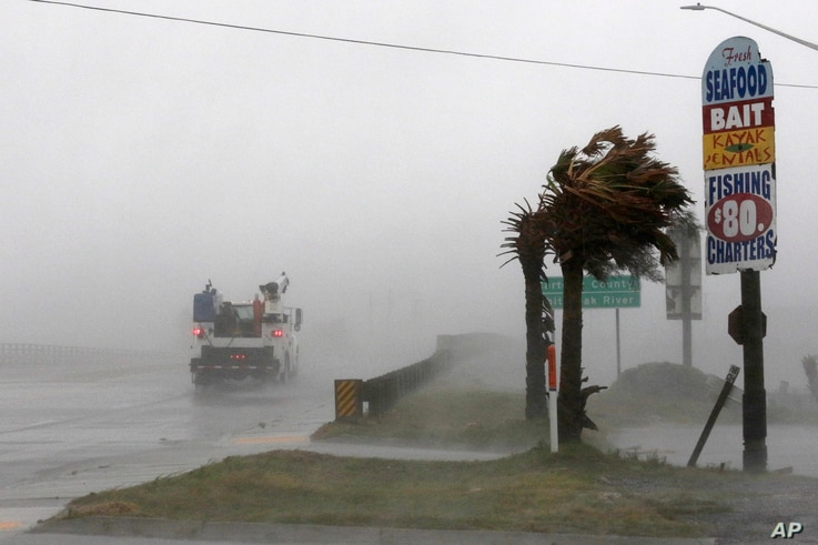 A work truck drives on Hwy 24 as the wind from Hurricane Florence blows palm trees in Swansboro N.C.,Sept. 13, 2018.
