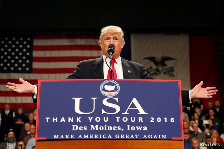 U.S. President-elect Donald Trump speaks at the USA Thank You Tour event  in Des Moines, Iowa, Dec. 8, 2016.