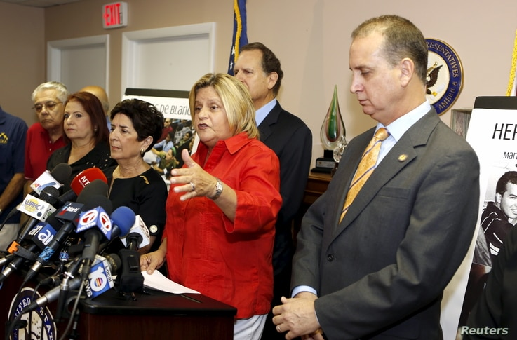 U.S. Rep. Ileana Ros-Lehtinen (R-FL) speaks at a news conference at her office in Miami, Florida Aug. 12, 2015.
