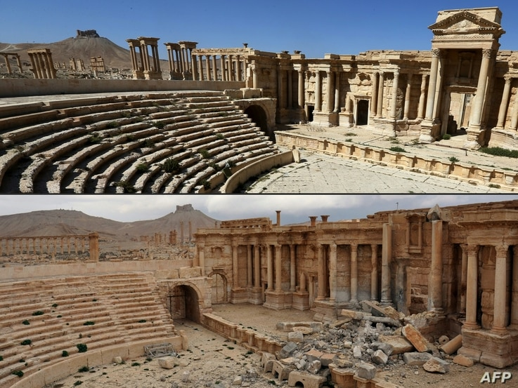 This combination of pictures created on March 3, 2017 shows a file photo taken on March 31, 2016, (top) of the amphitheatre in the ancient city of Palmyra in central Syria, and a photo (bottom) taken March 3, 2017, of the amphitheatre displaying dama...