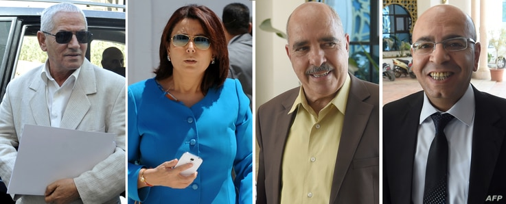 A combo of recent file pictures shows (LtoR) Secretary General of the Tunisian General Labour Union (UGTT) Houcine Abbassi,  President of the Tunisian employers union (UTICA) Wided Bouchamaoui, President of the Tunisian Human Rights League (LTDH), Ab...