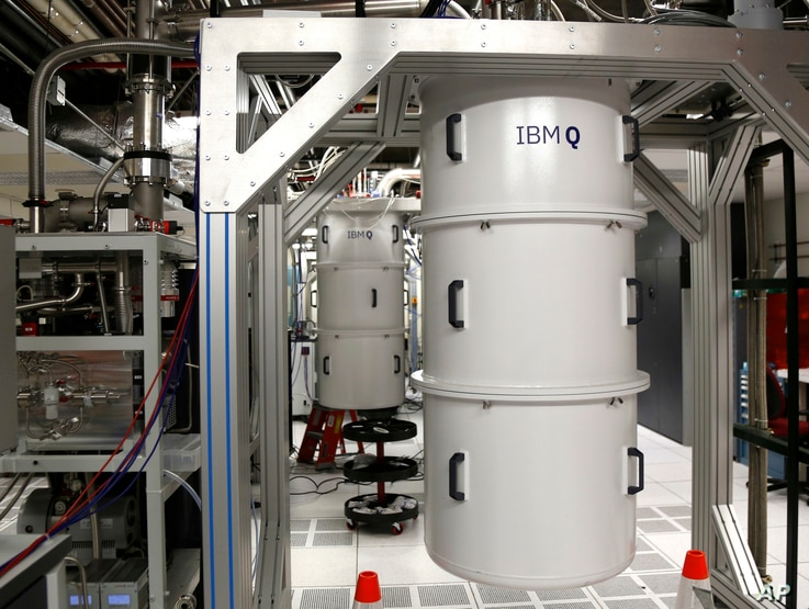 FILE - A quantum computer, encased in a refrigerator that keeps the temperature close to zero kelvin, is seen in the quantum computing lab at the IBM Thomas J. Watson Research Center in Yorktown Heights, N.Y., Feb. 27, 2018.