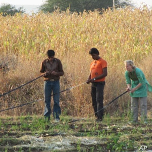 Sarah Huber works with farmers in India who are using the Driptech system.