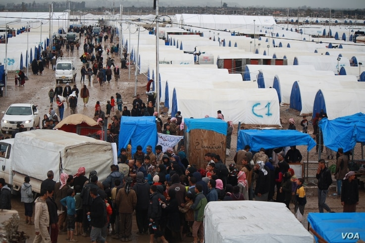 This camp of 4,000 tents was filled in three days in Hammam Aleel, Iraq, March 16, 2017. However, the U.N. says the worst of the displacement crisis is yet to come. More than a quarter of a million people have fled their homes since the Mosul offensi...