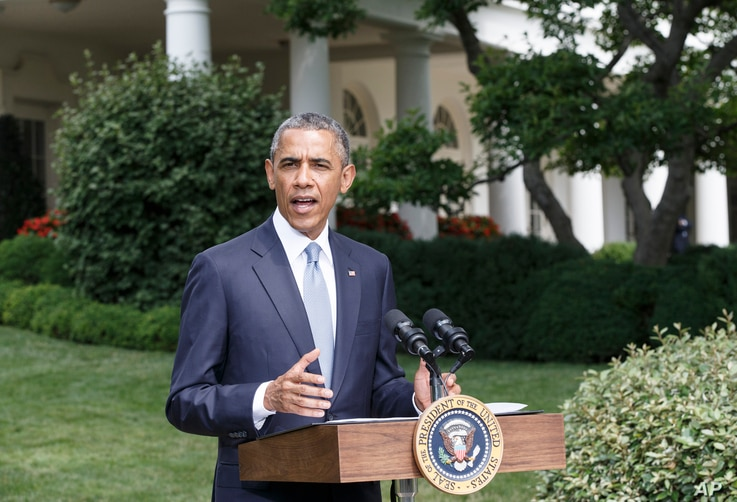 President Barack Obama makes a statement on the situation in Ukraine and Gaza, at the White House in Washington, July 21, 2014.