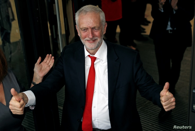 Jeremy Corbyn, leader of Britain's opposition Labour Party, arrives at the Labour Party's Headquarters in London, June 9, 2017.