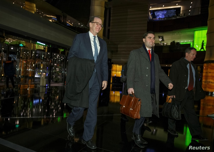 Under Secretary for International Affairs David Malpass of the U.S. Department of the Treasury and other members of the U.S. trade delegation to China, return from talks to a hotel in Beijing, China, January 7, 2019.