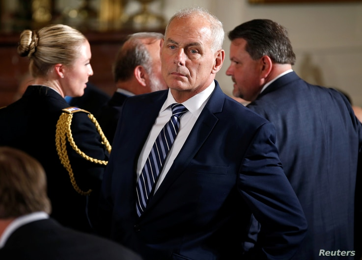 White House Chief of Staff John Kelly stands in the East Room of the White House in Washington, July 31, 2017.
