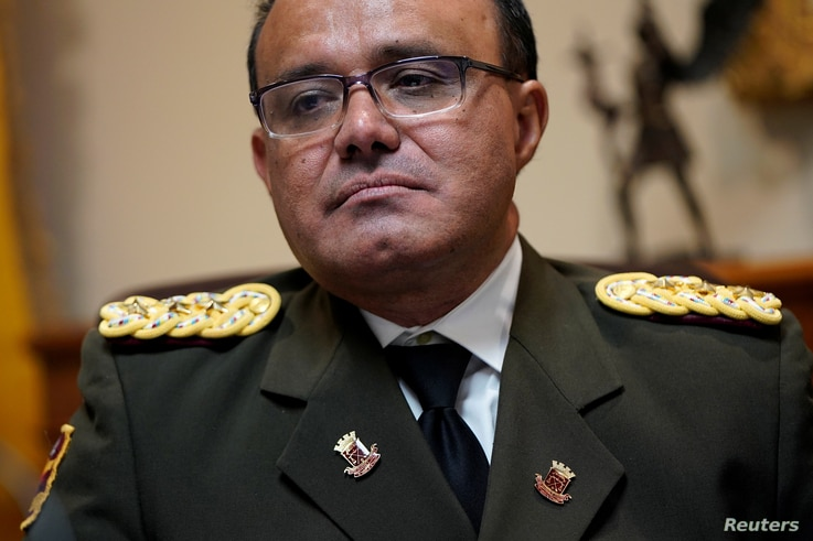 Venezuelan Colonel Jose Luis Silva, Venezuela's military attache at its Washington embassy to the United States, after announcing that he is defecting from the government of President Nicolas Maduro, Jan. 26, 2019.