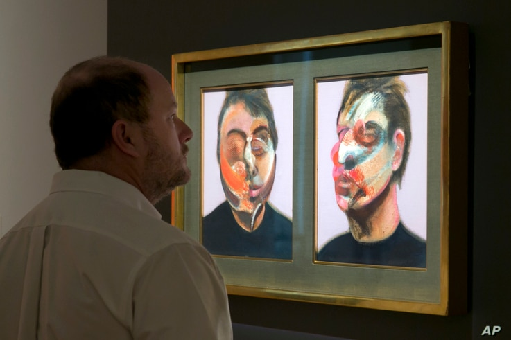 """Francis Bacon's """"Two Studies for a Self-Portrait"""" is viewed during the spring auction preview at Sotheby's, in New York, March 29, 2016."""