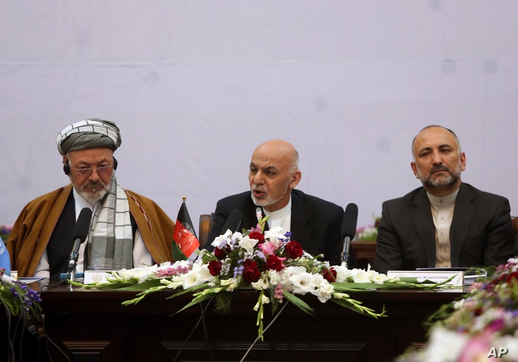 President Ashraf Ghani, center, speaks during the Kabul Process conference at the Presidential Palace in Kabul, Afghanistan, June 6, 2017.