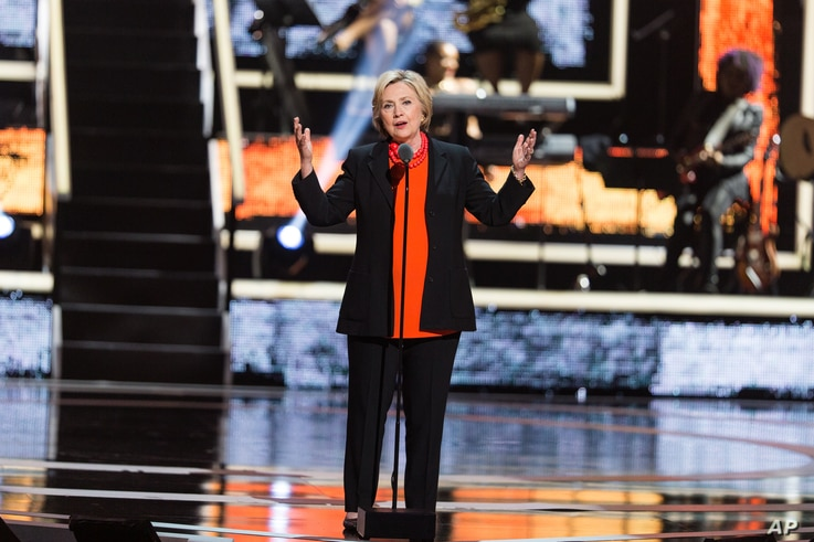 Hillary Clinton is seen at 2016 Black Girls Rock! at New Jersey Performing Arts Center, in Newark, N.J., April 1, 2016.