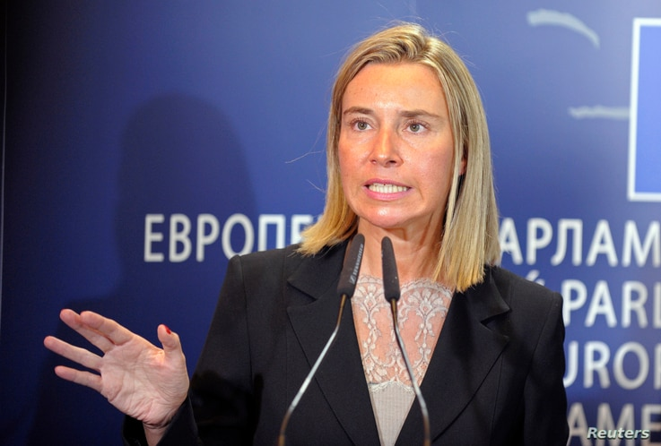 Newly elected EU Foreign Policy Chief, Italian Foreign Minister Federica Mogherini, holds a news conference at the European Parliament in Brussels September 2, 2014.  REUTERS/Laurent Dubrule (BELGIUM - Tags: POLITICS) - RTR44MII