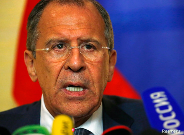 Russian Foreign Minister Sergei Lavrov speaks to media after talks on the situation in Ukraine in Geneva April 17, 2014.